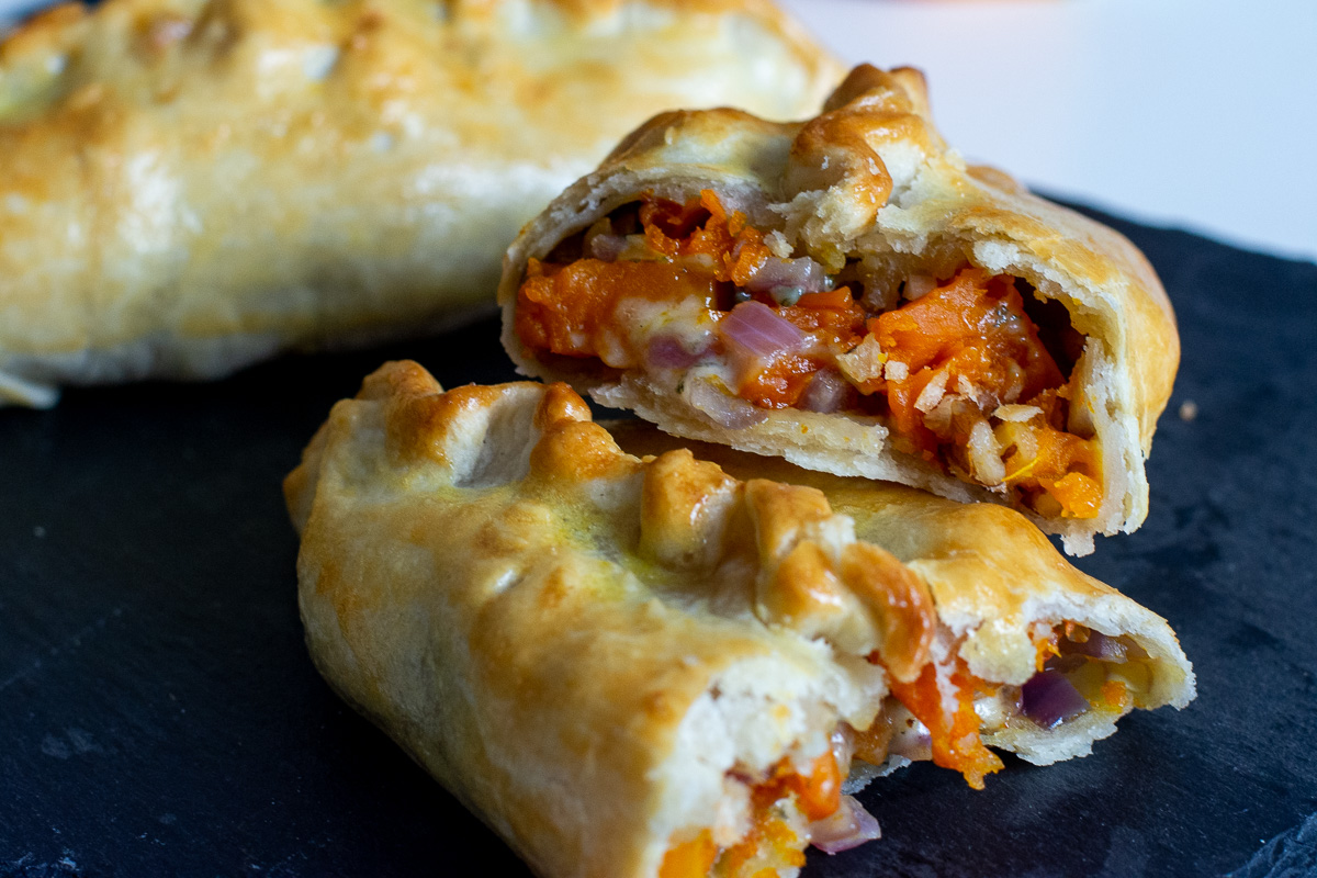 Squash, blue cheese and walnut pasties
